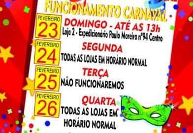 Supermercado Rezende & Portugal informa: Funcionamento Carnaval